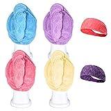 Bleaching Hair Experience - CUH 4 Packs Microfiber Hair Towel Super Absorbent Turban Wrap With 2 Bonus Headbands