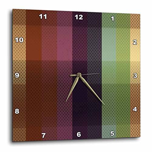 Dot Clock Brown - 3dRose DPP_213774_2 Blue, Pink, Green, Brown Wide Stripes with Dots Wall Clock, 13 x 13