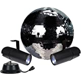 "12"" Disco Mirror Ball Complete Party Kit with 2 LED Pinspots and Motor - Adkins Professional Lighting"