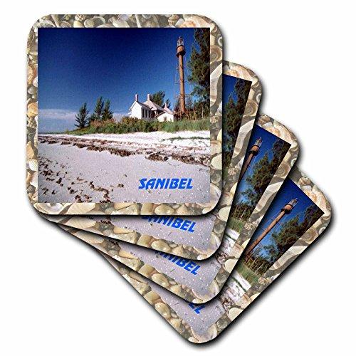 3dRose Famous Sanibel Lighthouse Framed In seashells - Ceramic Tile Coasters, set of 4 (cst_43735_3) ()