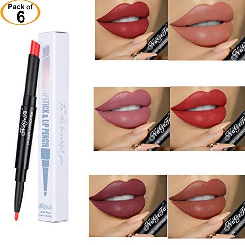 6 pcs Beauty Nageta 2in1 Womens Double-End Lasting Waterproof Lip Liner Lipstick Pencil (Set 2)