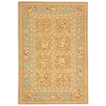 Safavieh French Tapis Collection FT211B Handmade Sand and Green Hand-Spun Wool and Silk Area Rug, 4-Feet by 6-Feet