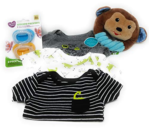 LLT Preemie Baby Gift Set - Includes Preemie Sized Onesies, 0+ Pacifiers and Soft Rattle (Boys Blk-Grn)