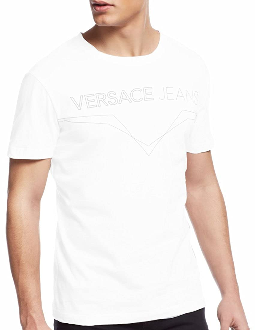 Versace Jeans Short Sleeve Tee with Embossed Logo, White White (LARGE)