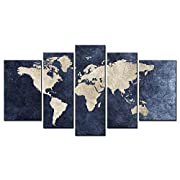 World Map Picture Canvas Wall Art Multi Painting 5 Panel Ready To Hang
