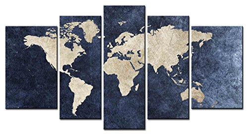 World Map Picture Canvas Wall Art Multi Painting 5 Panel Ready To Hang (Map Pictures)