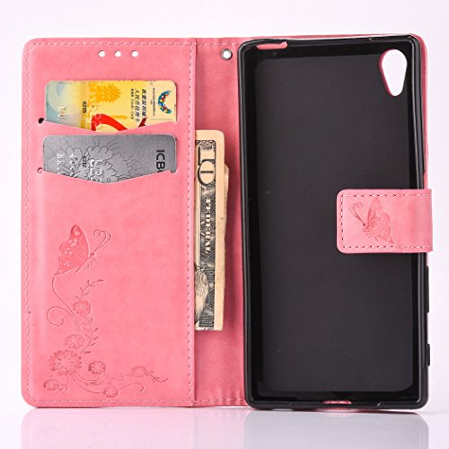 Sony Xperia X Case, Sony Xperia X Leather Case, Sony Xperia X Wallet Case,Cozy Hut Retro Vintage Embossed Plum Blossoms Pattern Pu Bookstyle Strap Leather Wallet Flip Protective Case Cover with Stand Pink butterfly flower