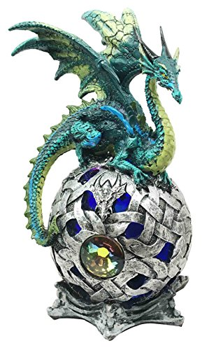 Ebros Elemental Jade Green Earth Dragon Perching On LED Gyrosphere Orb Night Light Statue Home Decor Dragon Figurine