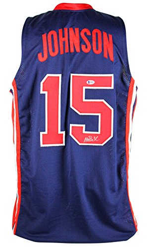 (Lakers Magic Johnson Team USA Authentic Signed Blue Jersey BAS Witnessed)