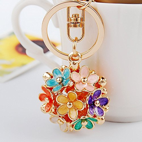Tone Daisy Flower (Axmerdal Daisy Flower Keyring Rhinestone Purse Bag Charm Pendant Keychain Christmas Gift for Girl Woman Lady (Multi-colored))