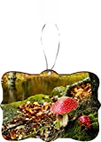 Rikki Knight RKWS-SQORN-8969 Christmas Tree Ornament/Car Rear View Mirror Hanger Amanita Red Dotted Poisonous Mushroom Design
