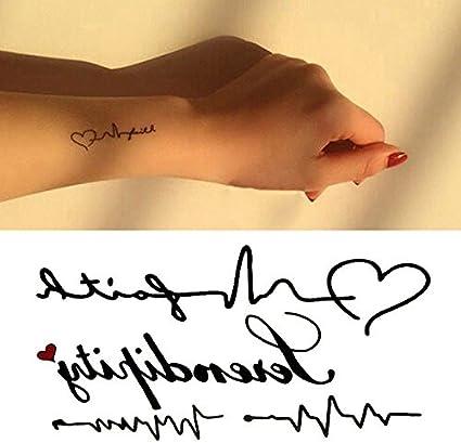 Oottati Pequeño Lindo Tatuaje Temporal Ecg Latido Corazón (2 Hojas ...