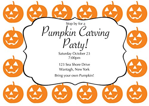 50 Pumpkin Carving Party Halloween Cards with