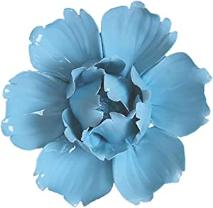 ALYCASO Peony Ceramic Flower Wall Décor Artificial 3D Flower Wall Art for Living Room Home Hallway Bedroom Kitchen Farmhouse Bathroom Dining Room, Blue, 3.54 inch