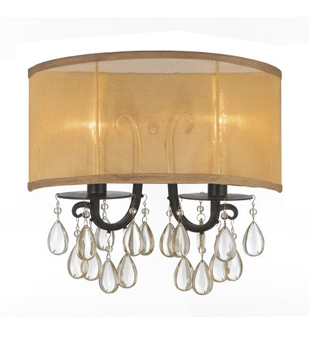 Etruscan Bronze 2 Light (Wall Sconces 2 Light With English Bronze Etruscan Smooth Teardrop Almond Crystal Silk Wrought Iron 14 inch 120 Watts - World of Lighting)