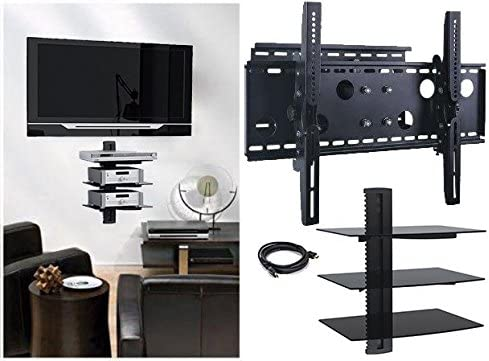 2xhome New TV Wall Mount Bracket Single Arm Three 3 Triple Shelf Package Secure Cantilever LED LCD Plasma Smart 3D WiFi Flat Panel Screen Monitor Moniter Display Large Displays – Long Swing