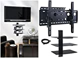 2xhome – NEW TV Wall Mount Bracket (Single Arm) & Three (3) Triple Shelf Package – Secure Cantilever LED LCD Plasma Smart 3D WiFi Flat Panel Screen Monitor Moniter Display Large Displays - Long Swing Out Single Arm Extending Extendible Adjusting Adjus