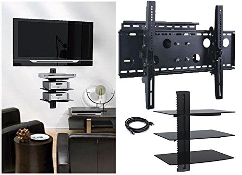 (2xhome - NEW TV Wall Mount Bracket (Single Arm) & Three (3) Triple Shelf Package - Secure Cantilever LED LCD Plasma Smart 3D WiFi Flat Panel Screen Monitor Moniter Display Large Displays - Long Swing Out Single Arm Extending Extendible Adjusting Adjustable - Triple 3 Tier Under TV Tempered Glass Floating Hanging Shelves Shelving Unit Rack Tower Set Bundle - Full Motion 15 degree degrees Tilt)