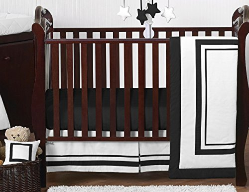 Sweet Jojo Designs 11-Piece Contemporary White and Black Modern Hotel Baby Boy Girl Unisex Bedding Crib Set Without Bumper