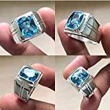 Blue Topaz Mans Silver Ring, Handmade Designer Boys Jewelry, 925 Solid Silver Ring, Wedding Gift For Mens, Designer Queen Mens Ring, Blue Topaz Heavy Signet Ring, Long Cushion Brilliant Cut Topaz Ring