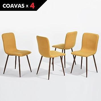 Set Von 4 Esszimmerstühle Coavas Stoff Kissen Küche Stühle Mit Soliden  Metall Beinen Für Esszimmer