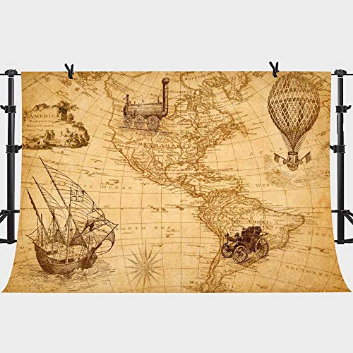 (PHMOJEN Retro Adventure Map Backdrop Discovery America Ship Train Hot Air Balloon Photography Background Vinyl 10x7ft Photo Booth Studio Props LYPH532)