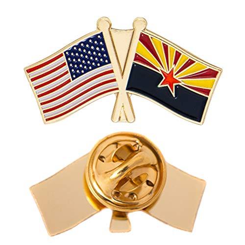 Arizona State Double Flag Lapel Pin Enamel with United States USA US Souvenir Hat Men Women Patriotic (Double Flag Pin) ()