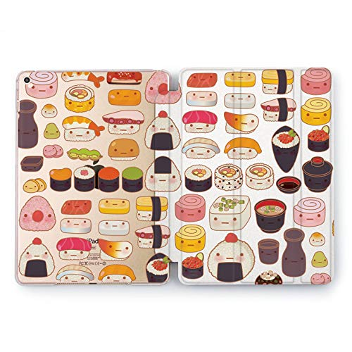 Wonder Wild Cute Sushi Set Food Apple New iPad Case 9.7 inch Mini 1 2 3 4 Air 2 10.5 12.9 2018 2017 Cover Seafood Pattern Texture Plastic Print Watercolor Design Clear Only Smart Stand Great Gift -