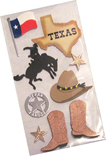 "Custom & Decorative {1"" to 2"" Inch} 8 Piece Pack of Mid-Size Stickers for Arts, Crafts & Scrapbooking w/ Texas Lone Star State Flag, Cow Boy Boots, Sheriff Pin, & Hat Style {Tan, Red & Blue}"