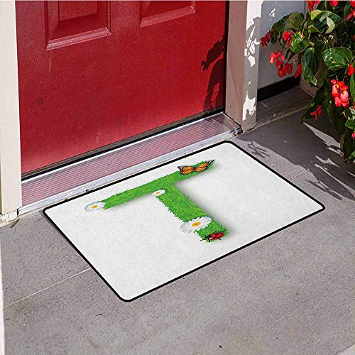 Gloria Johnson Letter T Front Door mat Carpet Caps T with Flourishing Fragrance Botanical Design and Ladybug Girls Room Machine Washable Door mat W29.5 x L39.4 Inch Green Multicolor ()