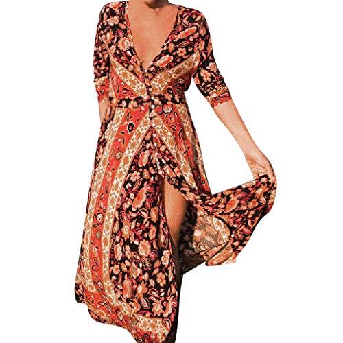 Women Dress,Caopixx Ladies Summer Deep V Multicolor Stripe Maxi Dress Casual Button Down Beach Sundress (Asia Size XL, C-Green)]()