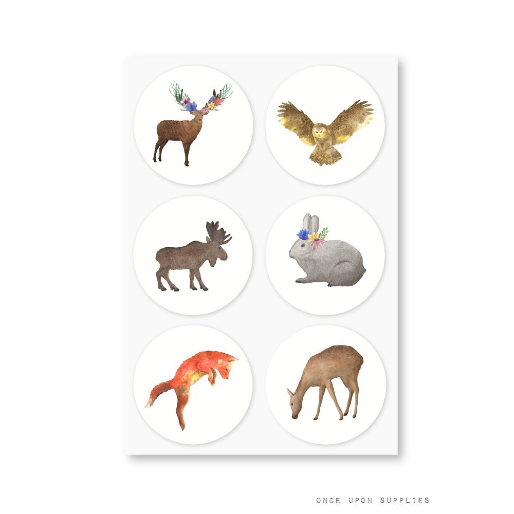 Woodland Forest Animals Round Stickers, Featuring Deer, Fox, Owl, Rabbit and Moose, for Kids Birthday Party or Baby Shower Decoration, by Once Upon Supplies, 1.5'', 60 Stickers