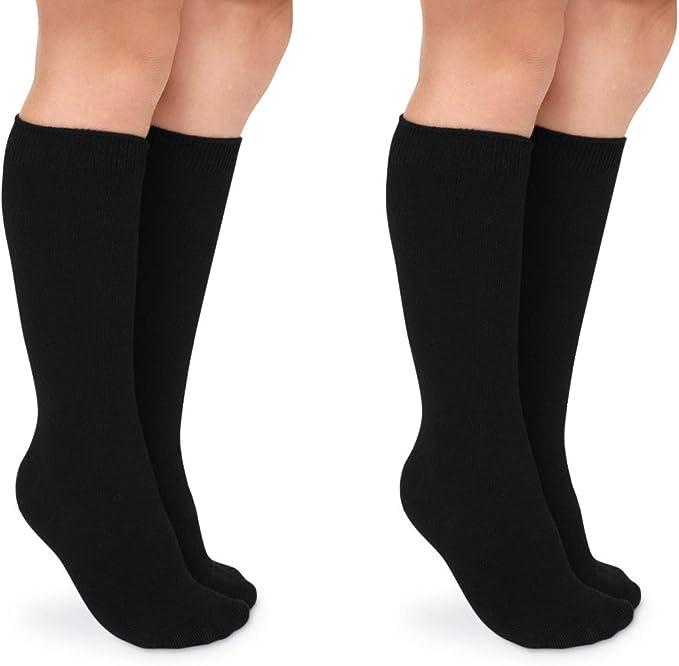 Girls Cotton Rich High Knee Long Socks with Bows Back 2 School Uniform Socks