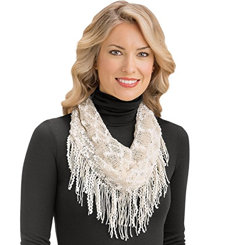 Soft Crochet Knit Infinity Scarf with Tassel Fringe - Dress Up Any Outfit With This Warm Accent, Beige