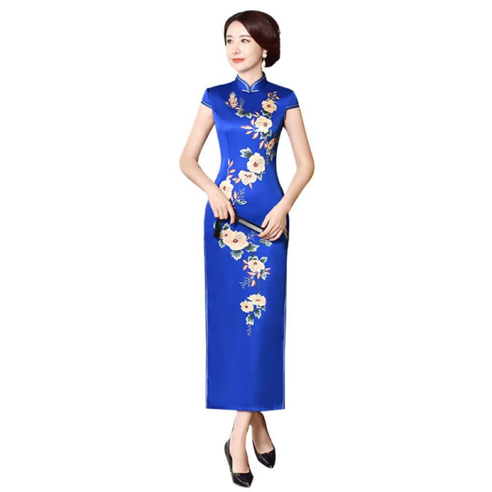 L BINGQZ Long cheongsam dress autumn improved Slim thin annual meeting daily retro cheongsam