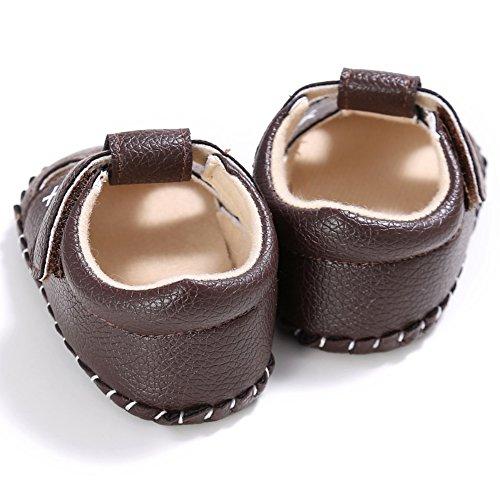 BOBORA Bebe Binos Sandalias Suave PU Cuero Antideslizante Zapatos De Verano caqui