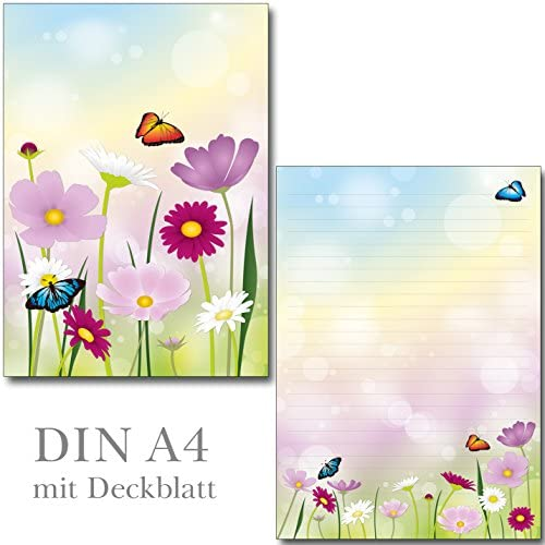 1 Schreibblock schöne Blumenwiese 24 Blatt Format DIN A4 mit Deckblatt 7360