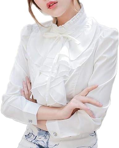 Mujer Primavera Camisa, Moda Manga Larga Cuello Mao Blusa con Volantes Elegantes Casual Oficina Camisetas Tallas Grandes Tops: Amazon.es: Ropa y accesorios