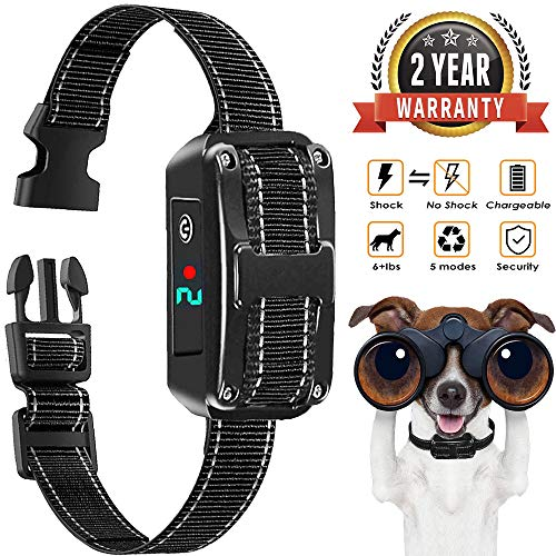 Bark Collar, Rechargeable Bark Control Collar Devices with 5 Adjustable Sensitivity and Intensity Levels-Dual Anti-Barking Modes, No Barking Control Dog shock Collar for Small Medium Large Dog ()