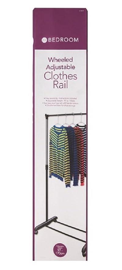 Ropa ferrocarril fácil de montar perchero ajustable con ruedas barra para ropa accesorio de la ropa