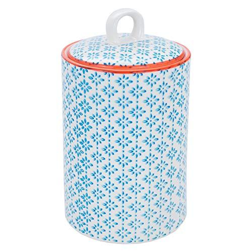 Orange Cannister - Nicola Spring Patterned Porcelain Tea, Coffee and Sugar Canister - Blue/Orange Print Design