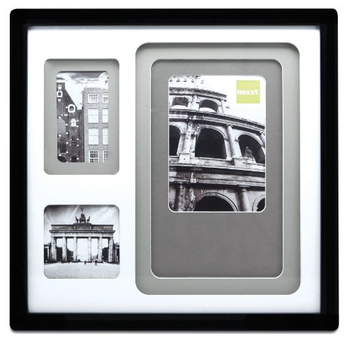 ered Collage Picture Frame, 14 by 14 Inch, Matted for 3 Openings, Black Frame with Neutral Color Mat ()
