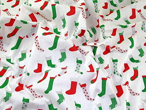 Ivory 1//2m Cream Christmas Stockings Santa Socks Printed Polycotton **Free Uk Post** Dress Fabric Tree Decoration Stocking Print Multicoloured Emerald And Red XMas