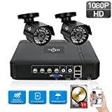 1TB HDD Pre-Install 4CH Security Camera System 1080N Video DVR Recorder with 2X HD 1080P Indoor Outdoor Weatherproof CCTV Cameras,Motion Alert, Smartphone, PC Easy Remote Access, Home Security Camera