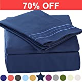 Microfiber Queen Size Bed Sheet Set - Made Of 1800TC 100% Microfiber Polyester - Extra Deep Pocket - Stain Resistant, Warm, Breathable And Hypoallergenic - 4 Piece (Navy Blue) - TEKAMON