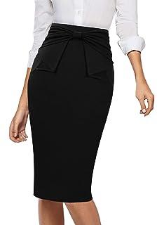 e44da656f1 VFSHOW Womens Pleated Bow High Waist Slim Work Office Business Pencil Skirt