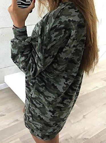 Mini O Abito Manica Lungo Coolred donne Autunno Camuffamento collo As1 PwBEfq