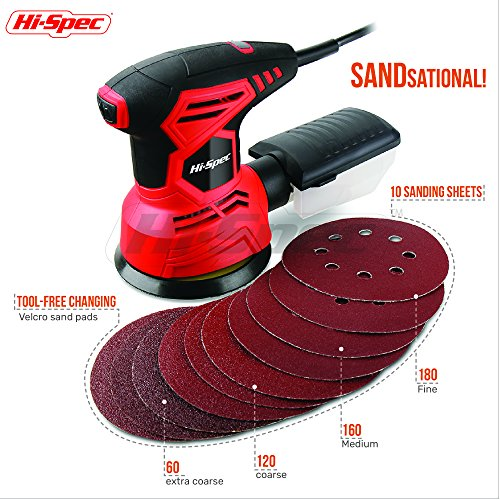 Hi-Spec Heavy Duty 2A Rotating Disc Palm Sander with Dust Collector & 10pc Sanding Pad Kit for Removing Paint, Varnish, Stains, Preparing Furniture, Polishing, Sanding Down & Finishing Wood