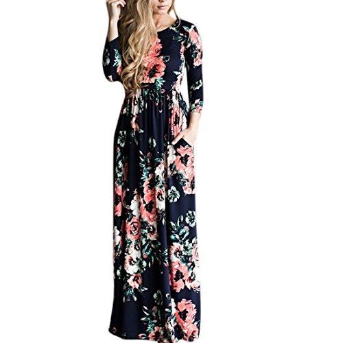 QIYUN.Z El Vestido Maxi Largo Impreso Floral De La Longitud Bohemia De Las Mujeres De La Manga Larga De Las Mujeres Azul Marino