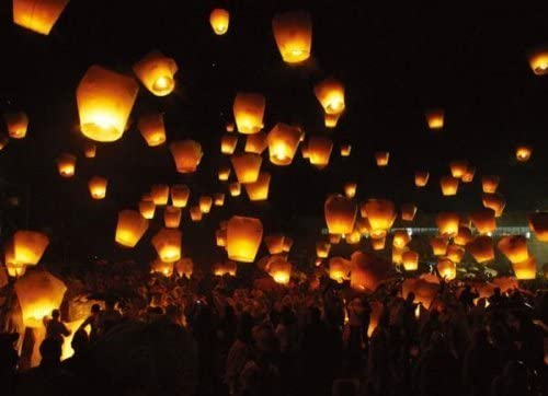 Easy Media Sky Lanterne Cinesi Volanti 30 Pezzi, Bianco